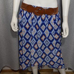 (3/$27) No Boundaries Tribal Belted Stretch Skirt